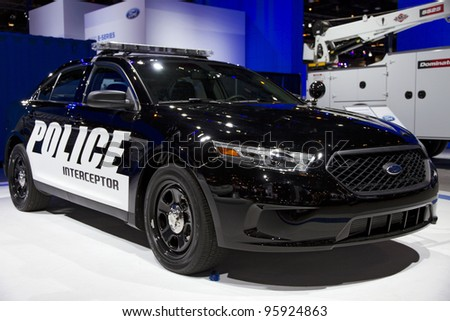 CHICAGO, IL - FEBRUARY 19: Ford Police Interceptor at the annual International auto-show, February 19, 2012 in Chicago, IL