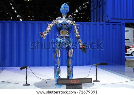 CHICAGO, IL - FEBRUARY 20: Ford's advertising robot at the International auto-show on February 20, 2011 in Chicago, IL