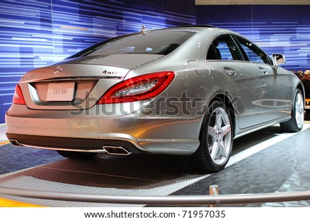 CHICAGO, IL - FEBRUARY 20: Mercedes Benz CLS 550 model 2011 on display at the International auto-show on February 20, 2011 in Chicago, IL