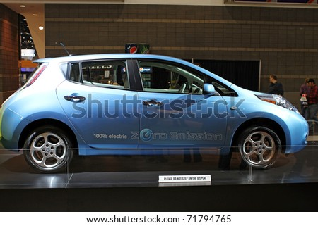 CHICAGO, IL - FEBRUARY 20: Nissan Leaf electric model 2011 at the International auto-show on February 20, 2011 in Chicago, IL