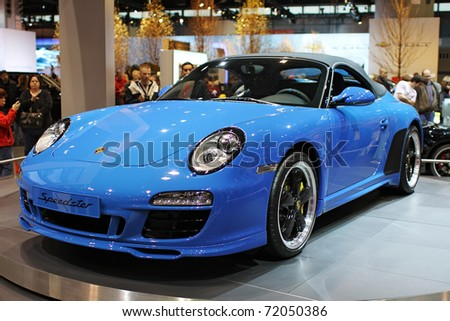 CHICAGO, IL - FEBRUARY 20: Porsche Speedster model 2011 at the International auto-show on February 20, 2011 in Chicago, IL