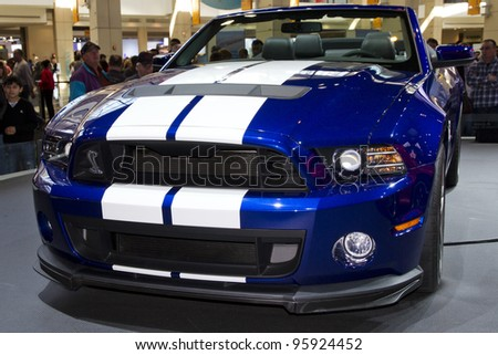 CHICAGO, IL - FEBRUARY 19: Shelby Mustang at the annual International auto-show, February 19, 2012 in Chicago, IL