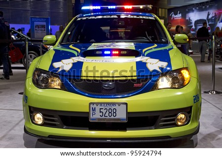 CHICAGO, IL - FEBRUARY 19: Subaru Police Interceptor at the annual International auto-show, February 19, 2012 in Chicago, IL - stock photo