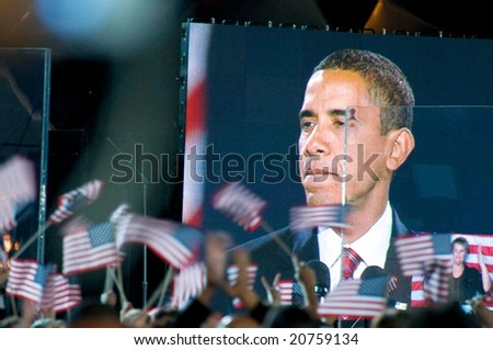 CHICAGO, IL - NOVEMBER 4: Barack Obama Speaks to the Crowd in Grant Park on November 4, 2008 in Chicago, IL