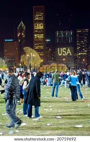 CHICAGO, IL - NOVEMBER 4: Crowd after the Obama Election Night Rally in Grant Park on November 4, 2008 in Chicago, IL