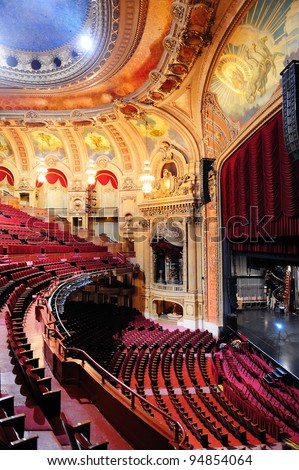 CHICAGO, IL - OCT. 6: Chicago Theatre interior view on October 6, 2011 in Chicago, Illinois. The iconic Chicago Theatre marquee appears in film, television, artwork, and photography as city landmark.