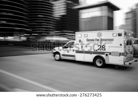 CHICAGO, IL - OCT 6: emergency medical services car at night on October 6, 2011 in Chicago, Illinois. Emergency Medical Service is provided by a variety of individuals, using a variety of methods.