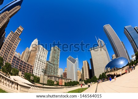 CHICAGO, ILLINOIS AUGUST 21: Fish eye view of the popular Millennium Park and Cloud Gate sculpture called the bean in downtown on August 21, 2011 in Chicago.