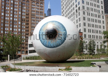 CHICAGO, ILLINOIS - AUGUST 29: The giant eyeball sculpture designed by Tony Tasset on display in the summer of 2010 as seen on August 29, 2010 in Chicago, IL