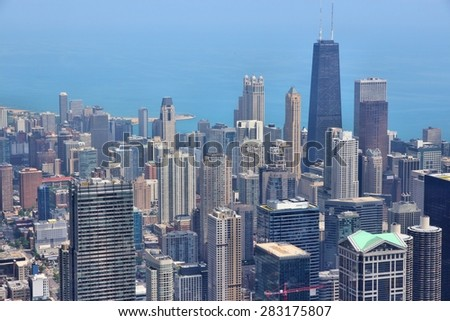 Stock Photo Chicago, Illinois in the United States. City skyline with Lake Michigan.