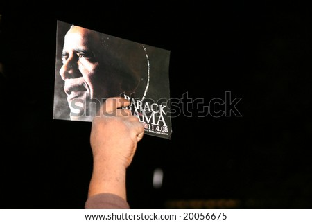 Chicago, Illinois, November, 4, 2008 - The crowd shows support as President elect Barack Obama appears to make his acceptance speech in Grant Park.