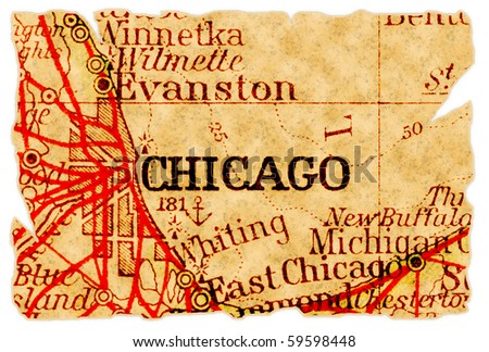 Chicago, Illinois on an old torn map from 1949, isolated. Part of the old map series.