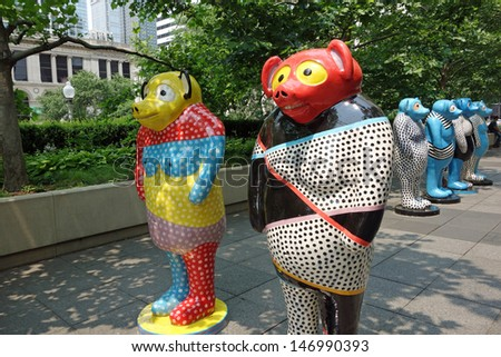 "CHICAGO,ILLINOIS/USA - APRIL 15:  On April 15, 2013, sculptor Jun Kaneko's ceramic signature ""Dangos"" were put on display in Millennium Park in downtown Chicago, in the Boeing Gallery."