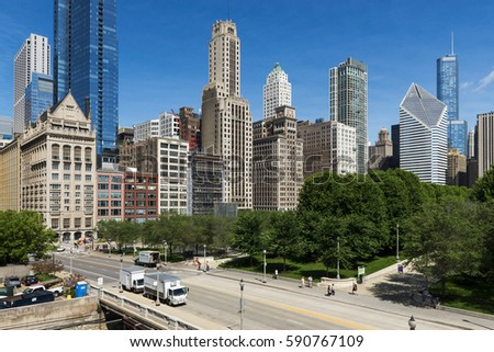 Chicago, Illinois, USA - July 1, 2014: View of the downtown of the city of Chicago, in the State of Illinois, USA #590767109