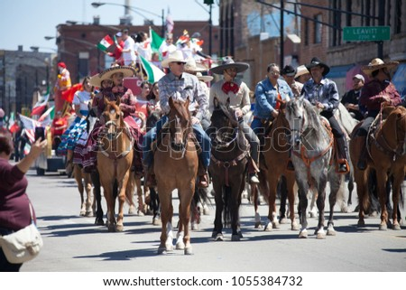 Chicago, Illinois, USA - May 07, 2017, The Cinco De Mayo Parade is held to remember the victory the Mexican forces had over the invading French army in the Battle of Puebla on 5 May, 1862. #1055384732