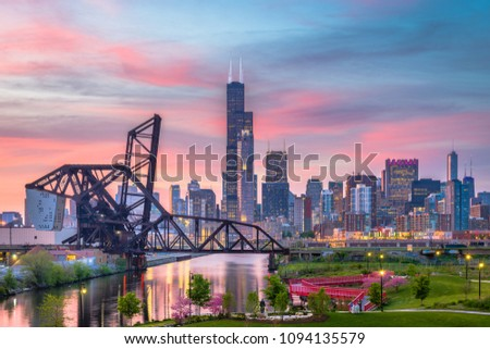 Chicago, Illinois, USA park and downtown skyline at twilight. #1094135579