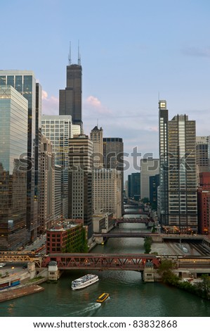 Chicago. Image of Chicago downtown and river at summer evening.