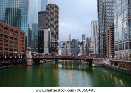 Chicago. Image of Chicago downtown riverfront at sunrise.