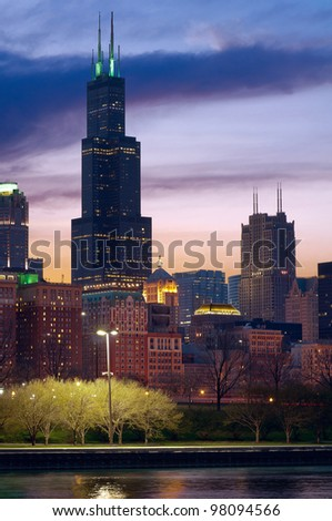 Chicago. Image of the Chicago cityscape after sunset.