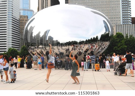 CHICAGO - JUNE 25: Chicago Cloud Gate Sculpture, The Bean at Millennium Park on June 25, 2011 in Chicago, Illinois USA. Sculpture made of steel, it was created by Anish Kapoor in 2004.
