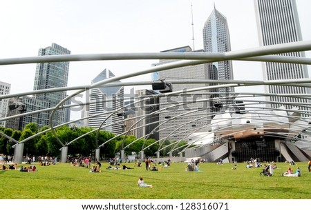 CHICAGO - JUNE 25: Chicago Jay Pritzker Pavilion at Millennium Park on June 25, 2011 in Chicago, Illinois USA. The Pavilion hosts many concerts, and events, and it has capacity for 11,000 people.