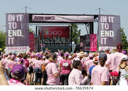 CHICAGO - JUNE 5: Participants attending the final ceremony festivities at the Avon Walk for Breast Cancer outside Soldier Field on June 5, 2011 in Chicago, IL.
