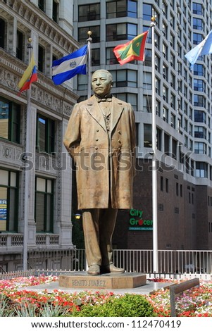 CHICAGO - JUNE 18: Statue of Benito Juarez near Michigan Avenue on June 18, 2012 in Chicago, Illinois. Juarez was a lawyer and politician who served five terms as president of Mexico.
