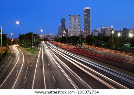Chicago Lake Shore Drive. Image of the busy Lake Shore Drive in Chicago downtown during twilight blue hour.