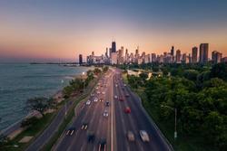 Chicago Lake Shore Drive scenic aerial view
