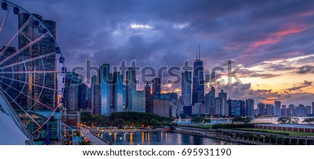 Chicago lakefront at sunset - from Navy Pier #695931190