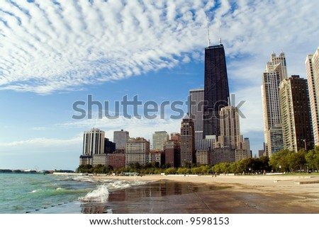 Chicago lakefront skyline with dramatic clouds