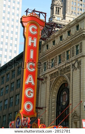Chicago Landmark Sign in the downtown theater district in the loop