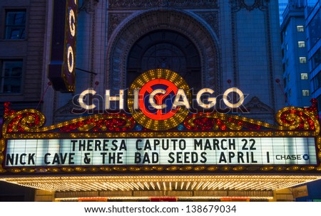 CHICAGO - MARCH 17 : The famous Chicago Theater on State Street on March 17, 2013 in Chicago, Illinois, The iconic marquee often appears in films and television