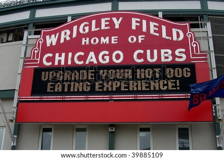 CHICAGO - MAY 27: The Cubs famous welcome sign before a spring contest at Wrigley Field on May 27, 2006 in Chicago.