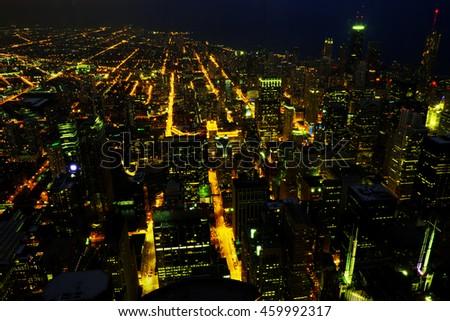 Chicago night stock photo