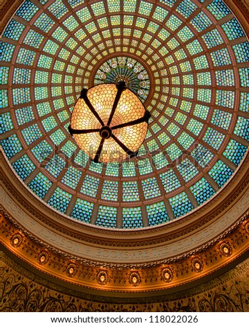 CHICAGO - OCTOBER 14: World's largest Tiffany glass dome ceiling in the Cultural Center on October 14, 2012 in Chicago, Illinois