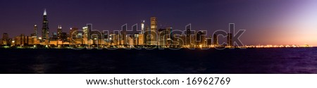 Chicago panorama skyline at sunrise