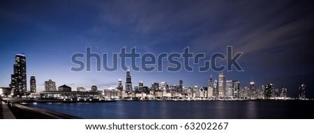 Stock Photo Chicago panoramic at night