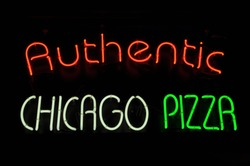 Chicago Pizza Neon Red White Green Sign