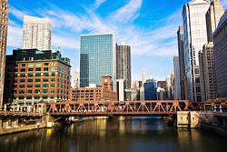 Chicago River and downtown buildings