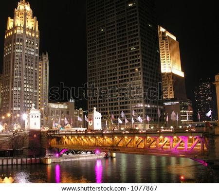 Chicago River Bridge over Michigan Avenue at night