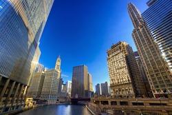 Chicago River Walk with urban skyscrapers, IL, USA