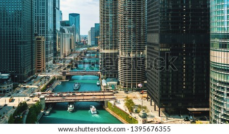 Chicago River with boats and traffic from above in the morning #1395676355
