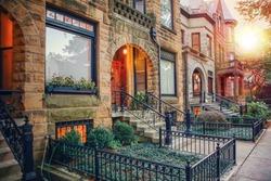 Chicago row house neighborhood at sunset