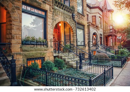 Chicago row house neighborhood at sunset
