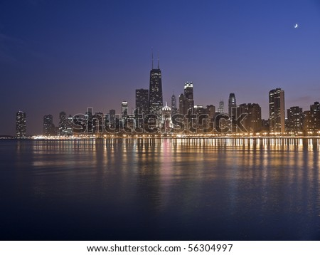 Chicago's dynamic waterfront in early evening light. - stock photo