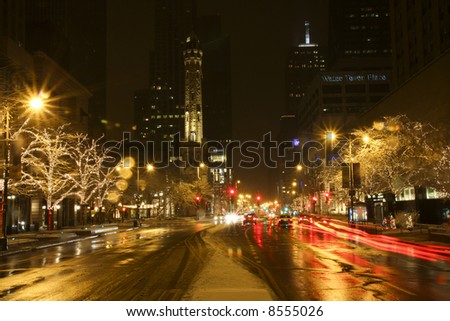 Chicago's Magnificent Mile with Holiday Lights