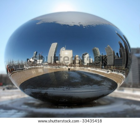 Chicago's Millennium Park with the Cloud Gate reflecting sphere - stock photo