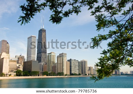 Chicago's skyline shot from Navy Pier framed by trees