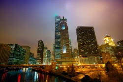 Chicago's urban skyscrapers at night, IL, USA
